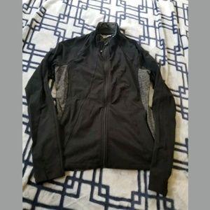 Athleta Black/Gray Athletic Zip Up Sweatshirt Med